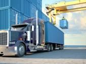LKW mit Containern. 3D-Rendering