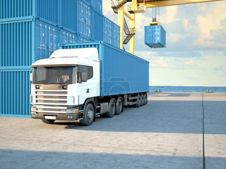 Photo for Stack of Freight Containers at the Docks with Truck. 3d rendering - Royalty Free Image
