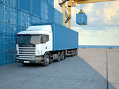 Camion con container. rendering 3D