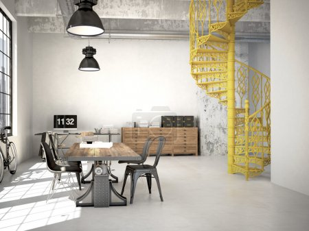 Photo for Spiral stairs and living room in modern loft.3d rendering - Royalty Free Image