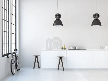 Photo for Interior, beautiful kitchen of an old loft. 3d rendering - Royalty Free Image
