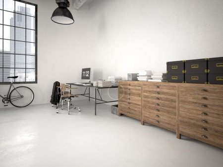 Photo for Modern industrial loft with furniture. 3d rendering - Royalty Free Image