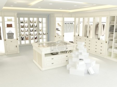 large white wardrobe. 3d rendering