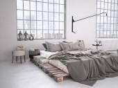 Industrielle Schlafzimmer. 3D-Rendering