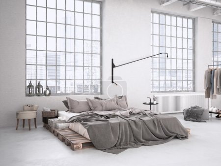 Photo for Modern industrial bedroom in a loft. 3d rendering - Royalty Free Image