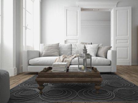 Photo pour Canapé en tissu dans un salon moderne. Rendu 3d - image libre de droit