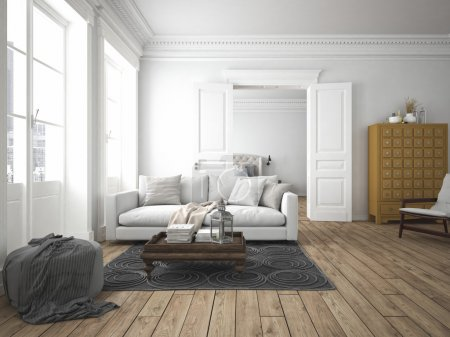 Photo for Sofa of tissue in a modern living room. 3d rendering - Royalty Free Image