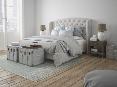 Luxury vintage style bedroom. 3d rendering