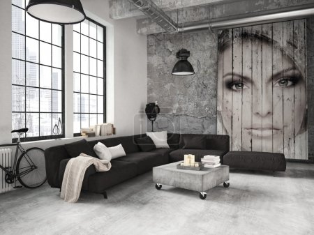 Living room of a penthouse. 3d rendering