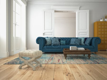 sofa in a modern living room. 3d rendering