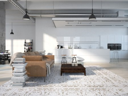 Photo for Modern loft with a kitchen and living room. 3d rendering - Royalty Free Image