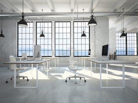 Photo pour Ordinateur et cahier sur le lieu de travail dans le bureau. Rendu 3d - image libre de droit