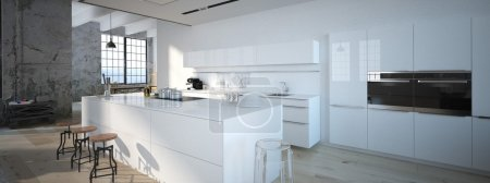 The modern kitchen interior design. 3d rendering...