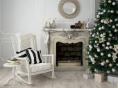 christmas decorated room. 3d rendering