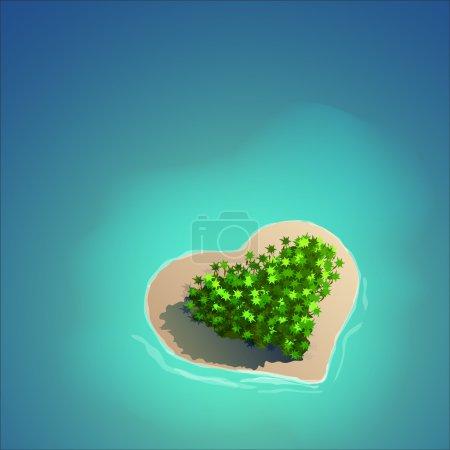 Illustration pour Île tropicale en forme de coeur pour des vacances romantiques ou des valentines . - image libre de droit