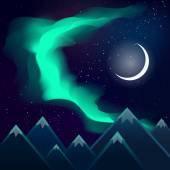 Northern lights over mountains at night vector