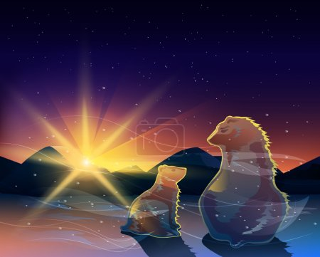 Photo for Two bears watching sunrise in the cold desert vector. - Royalty Free Image