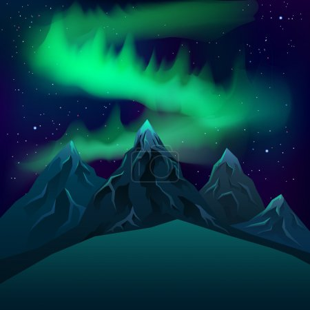 Illustration for Realistic mountains at night you can see the Milky Way Vector - Royalty Free Image