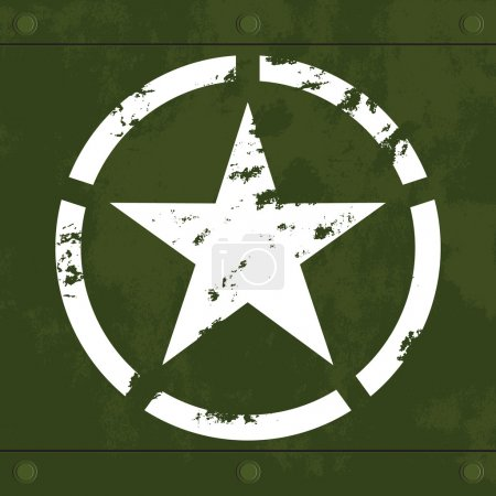 Grungy white army star on green camouflage decayed...