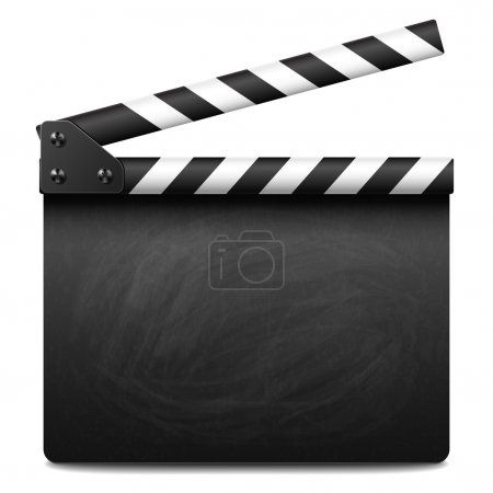 Clapper board with grunge texture and chalk smudges