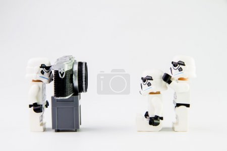 Lego star wars stormtrooper taking a photograph