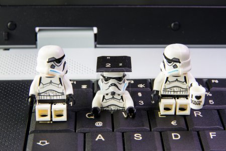 Lego star wars stormtrooper a sneak is key keyboard notebook.The lego Star Wars mini figures from movie series.Lego is an interlocking brick system collected around the world