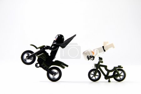 Star Wars movie : Stomtrooper ride a motorcycle and bicycle
