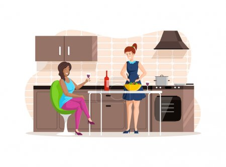 Illustration pour Women girlfriends resting together at kitchen. Girls preparing homemade vegetable salad and drink wine. People cooking in kitchen cartoon vector illustration - image libre de droit