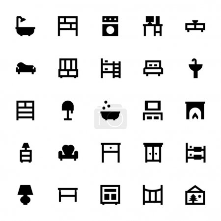 Illustration for Get for your next Furniture Vector Icon Pack! These vectors are great for your home decoration, interiors, furniture, sitting, living room visuals or any type of design projects. - Royalty Free Image
