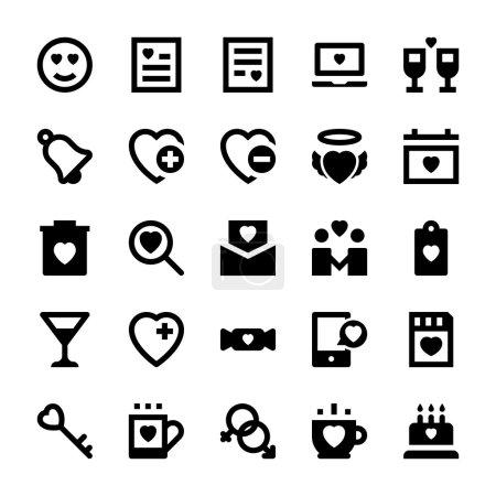Photo pour Aimez tout cet ensemble d'icônes vectorielles d'amour et de romance. Toutes les icônes liées amour, romance, Saint-Valentin, mariage et bonheur. Ce pack d'icônes vectorielles est merveilleux icônes de couleur pour votre travail et vos projets . - image libre de droit