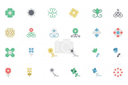 Flowers and Floral Colored Vector Icons 5