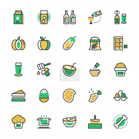 Food, Drinks, Fruits, Vegetables Vector Icons 5