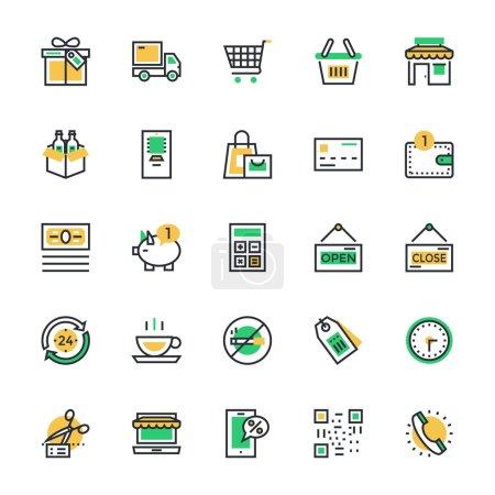 Illustration pour Let's Shop Now Ici, nous offrons des icônes vectorielles shopping qui est merveilleux, tout est lié au shopping. Il peut être utilisé pour le marché et les boutiques en ligne . - image libre de droit