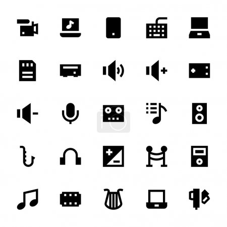 Music, Audio, Video, Cinema and Multimedia Vector Icons 3