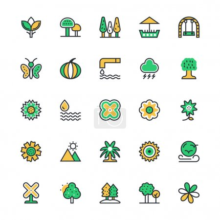 Nature, Park, Plants, Trees Vector Icons 3