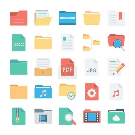 Illustration pour Mettez de l'ordre dans votre travail et organisez-vous avec ce pack Fichier et dossiers ! Inclus dans ce pack sont différentes icônes qui seraient parfaits pour les icônes de style d'affaires . - image libre de droit