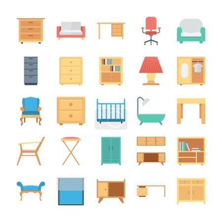 Illustration pour Décorez vos bâtiments avec des objets d'intérieur en utilisant ces icônes impressionnantes de meubles, vous allez adorer utiliser le pack d'icônes pour vos projets et travaux primés ! - image libre de droit