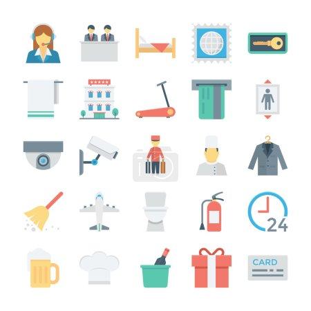 Illustration pour Besoin de quelques icônes simples mais attrayantes pour votre site d'hôtel ou blog ? Ce pack d'icônes vectorielles d'hôtel et de services comprend une variété d'icônes prêtes à l'emploi dans des projets personnels et commerciaux . - image libre de droit
