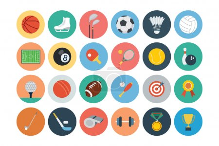 Illustration for A set of sports vector flat icons. - Royalty Free Image