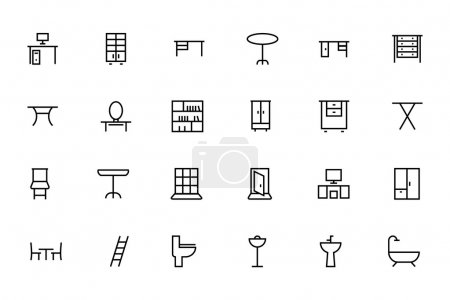 Buildings and Furniture Line Vector Icons 5