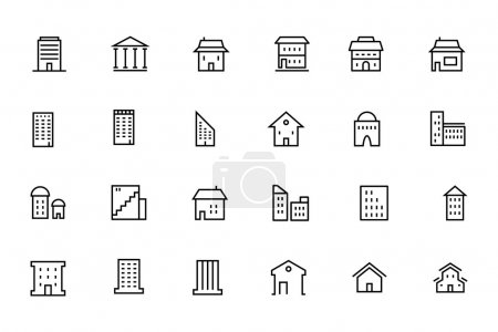 Illustration for Take a trip back in time and decorate with this new Buildings and Furniture Pack! Included in this pack are thirty  different icons, ranging from all buildings and furniture. You'll love using the icon pack for your projects and award winning work! - Royalty Free Image