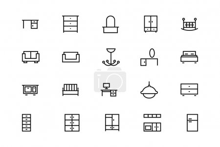 Buildings and Furniture Line Vector Icons 8