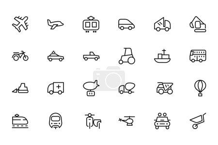 Illustration pour Un ensemble d'icônes de ligne vectorielle de transport . - image libre de droit