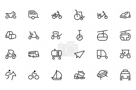 Transport Line Vector Icons 4