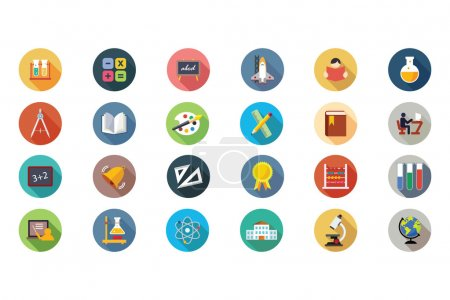 Illustration for Celebrate the great gift of education with this new Education Vector Icons Pack! Use these icons in your education, learning and school related projects. - Royalty Free Image