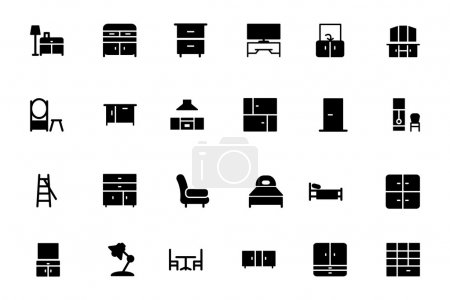 Illustration for Get for your next Furniture Vector Icon Pack! Set of twenty four icons that are great for your home decoration, interiors, furniture, sitting, living room visuals or any type of design projects. - Royalty Free Image