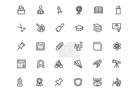 School and Education Vector Line Icons 2