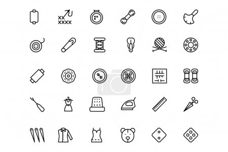 Sewing Line Vector Icons 3