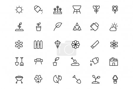 Gardening Line Vector Icons 1