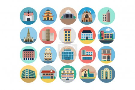 Buildings Flat Colored Icons 4